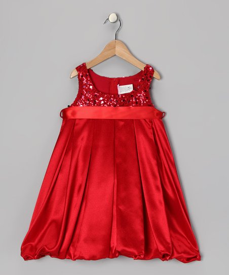Red Sequin Bubble Dress - Toddler & Girls