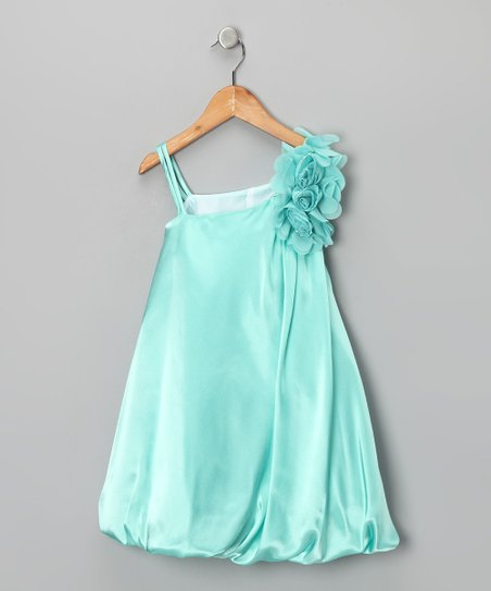 Robin's Egg Blue Chiffon Flower Bubble Dress - Girls