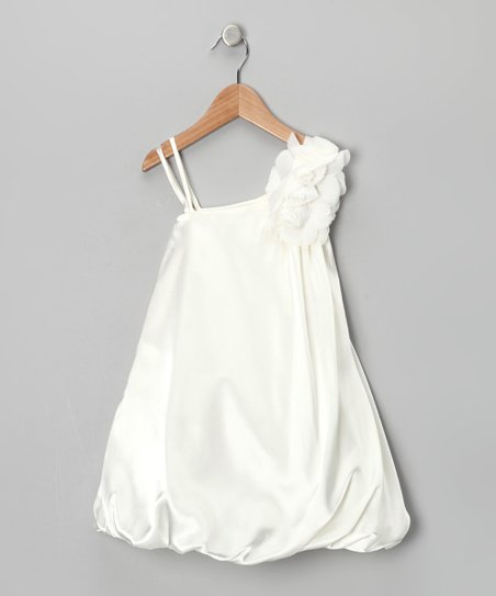 Ivory Chiffon Flower Bubble Dress - Girls