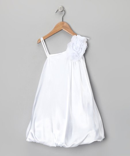 White Chiffon Flower Bubble Dress - Girls