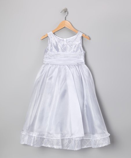 Silver Organza Beaded Dress - Toddler & Girls