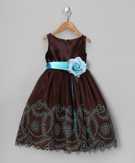 Chocolate Embroidered Flower Dress - Toddler & Girls