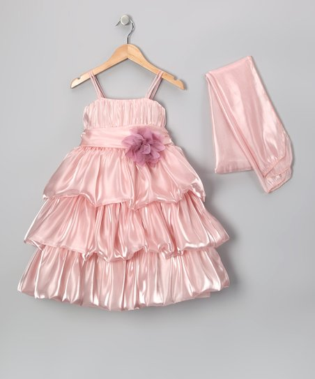 Rose Tiered Organza Dress & Wrap – Toddler & Girls