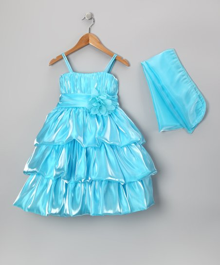 Aqua Tiered Organza Dress & Wrap – Toddler & Girls