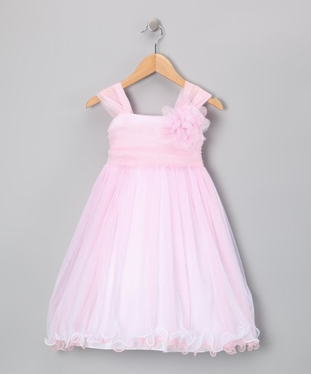 Pink Flower Chiffon Babydoll Dress - Toddler & Girls