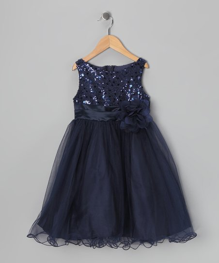 Navy Sequin Tulle A-Line Dress -  Toddler & Girls