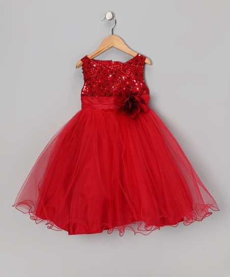 Red Sequin Tulle A-Line Dress - Toddler & Girls