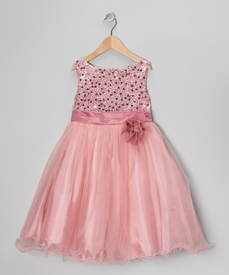 Rose Sequin Tulle A-Line Dress - Infant, Toddler & Girls