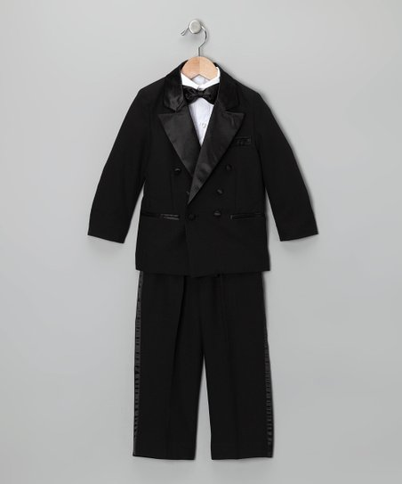 Black Four-Piece Tuxedo Set - Infant, Toddler & Boys