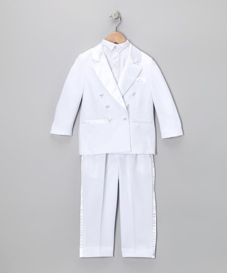White Four-Piece Tuxedo Set - Infant, Toddler & Boys