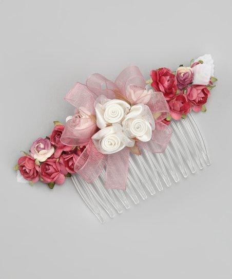 Ivory & Rose Floral Comb