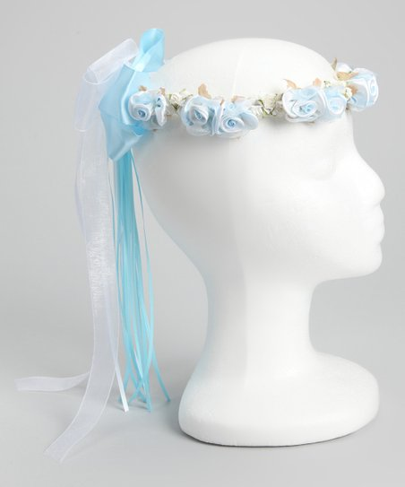 Blue Silk Flower Bow Halo