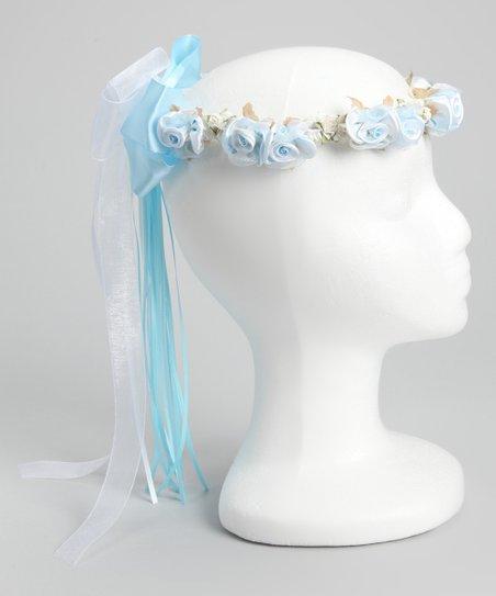 Blue Silk Flower Bow Halo