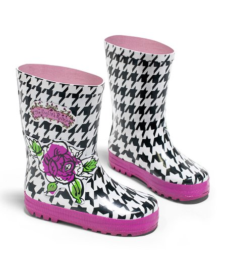 Black Houndstooth The English Roses Rain Boot