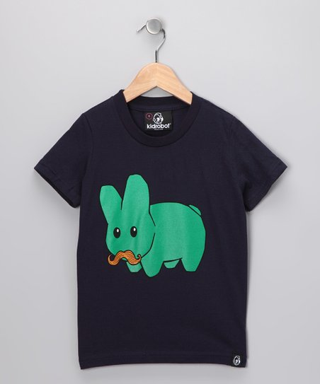 Navy Green Stache Labbit Tee