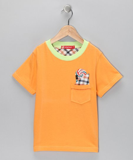 Orange Gingham-Pocket Tee - Infant & Boys