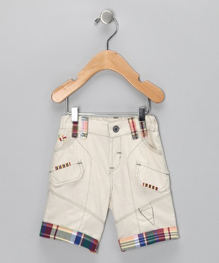 Cream Plaid Shorts - Infant & Boys