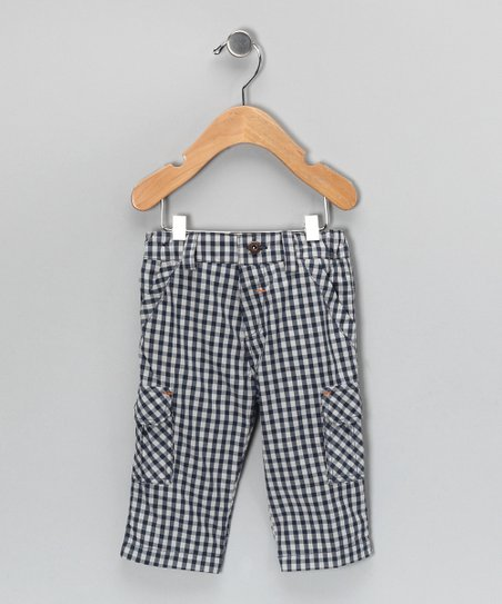 Blue Gingham Cropped Cargo Pants - Infant &amp; Boys