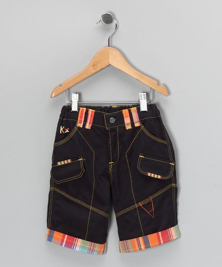 Navy Contrast Plaid Utility Shorts - Toddler & Boys
