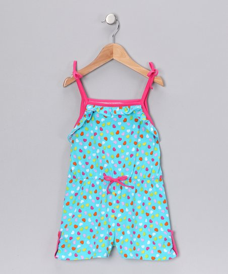 Blue & Pink Heart Romper - Girls