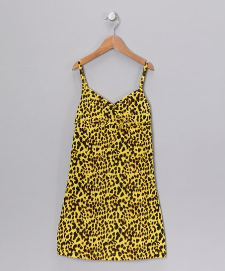 Yellow Leopard Dress - Girls