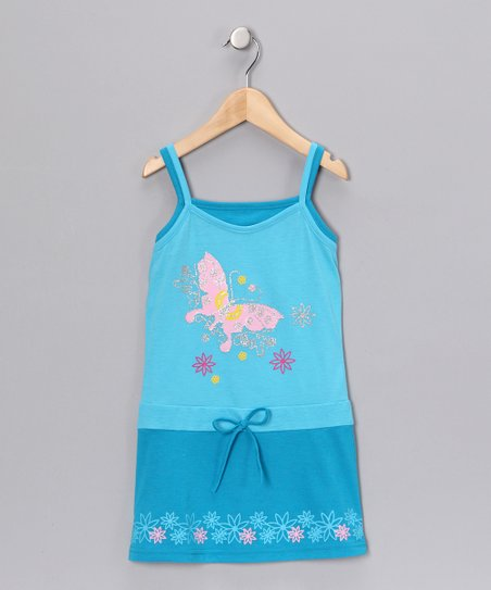 Turquoise Butterfly Dress - Girls
