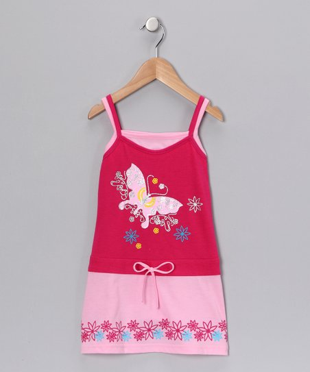Fuchsia Butterfly Dress - Girls