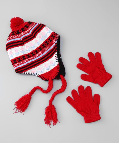 Red & White Flower Earflap Beanie & Gloves