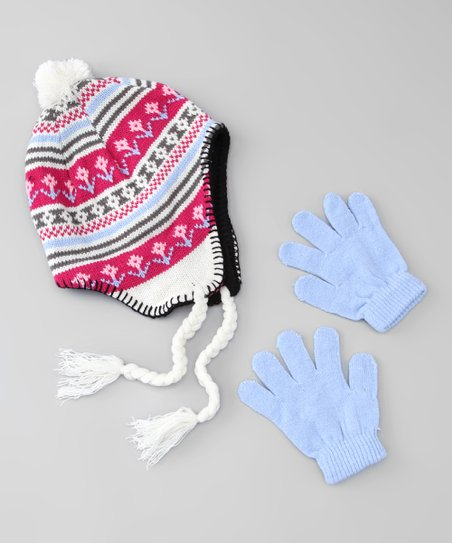 Pink & Blue Flower Earflap Beanie & Gloves