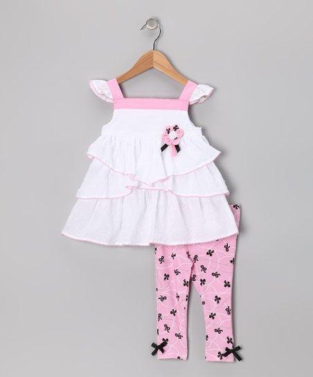 White & Pink Tunic & Leggings - Girls