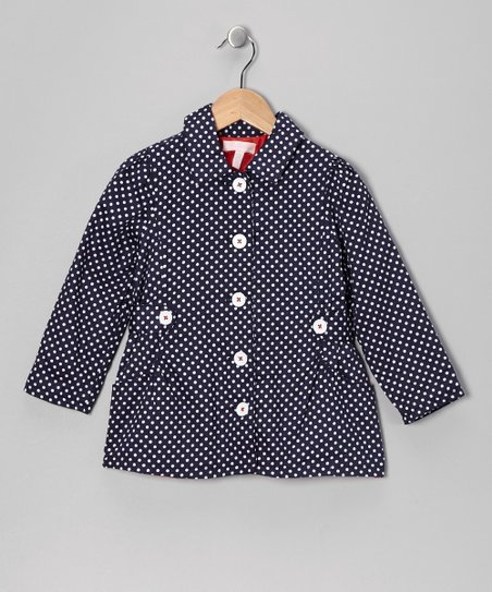 Navy Polka Dot Jacket - Girls