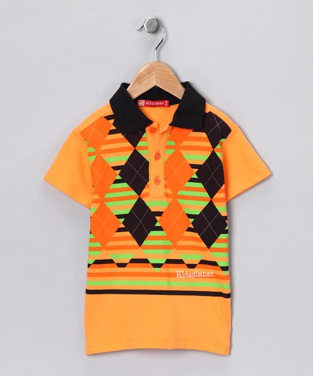 Orange &amp; Green Argyle Polo - Boys