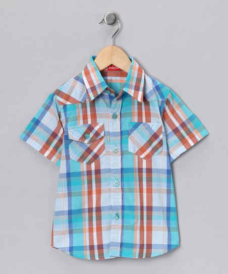Teal & Orange Button-Up - Infant