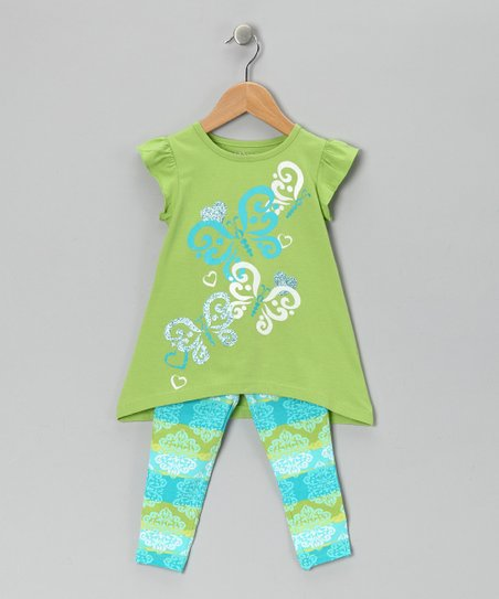 Green Angel-Sleeve Tunic & Leggings - Girls