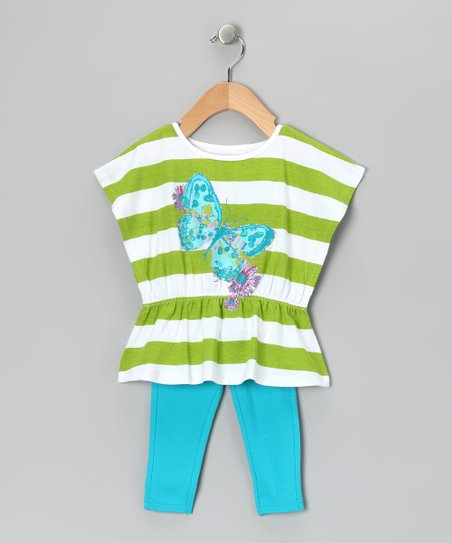 Green & Blue Stripe Tunic & Leggings - Infant