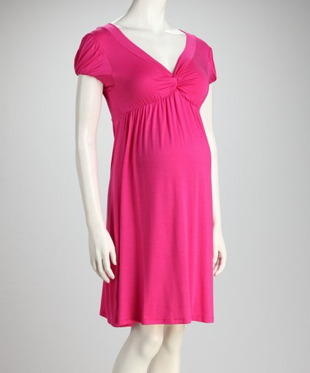 Fuchsia Knot Maternity Dress
