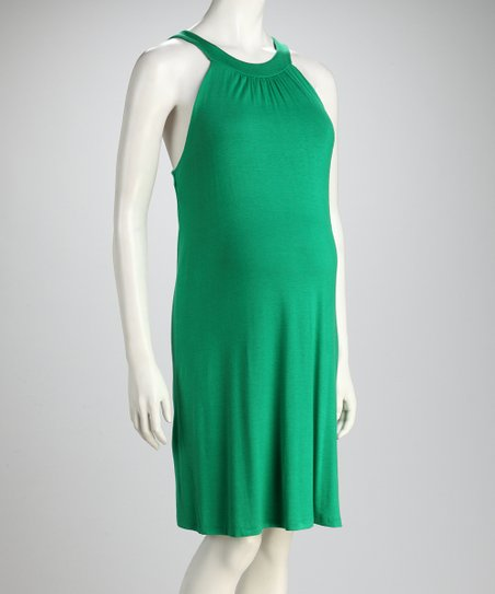 Green Maternity Yoke Dress