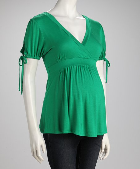 Green Maternity Surplice Top