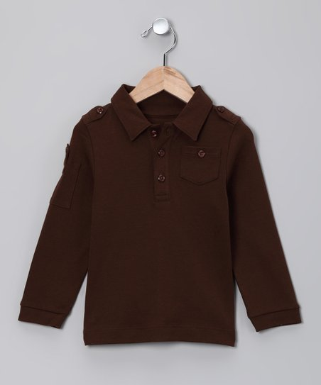 Chocolate Military Polo - Toddler & Boys