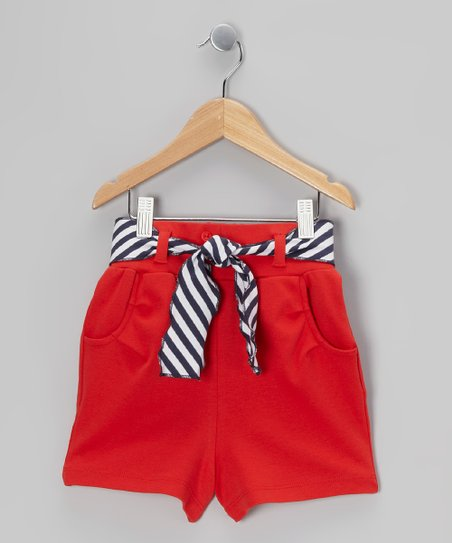 Crimson Stripe Sash Shorts - Toddler & Girls