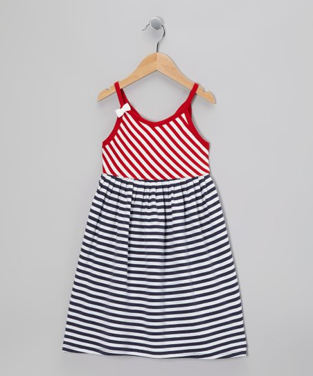 Crimson & Blue Stripe Swing Dress - Toddler & Girls