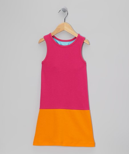 Hot Pink & Orange Racerback Shift Dress - Toddler & Girls
