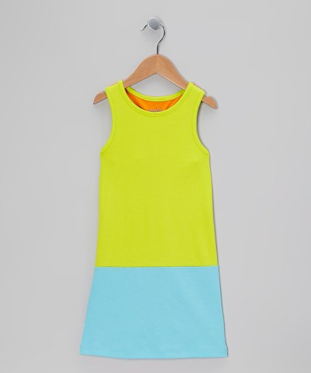 Lime &amp; Turquoise Racerback Shift Dress - Toddler &amp; Girls