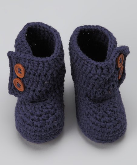 Navy Blue Crocheted Boot