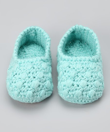 Baby Blue Crocheted Bobble Booties