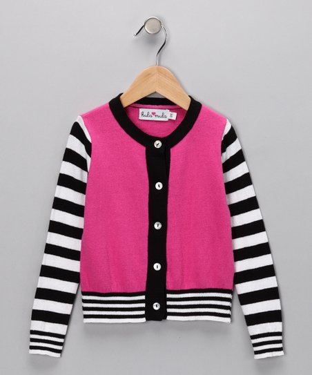 Fuchsia &amp; Black Stripe Taffy Cardigan - Infant, Toddler &amp; Girls