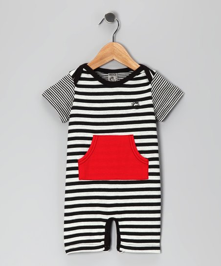Black & White Pocket Romper - Infant