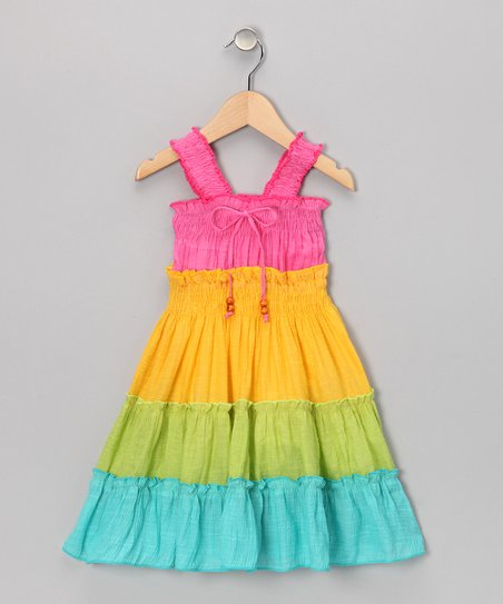 Rainbow Tiered Bow Dress - Girls