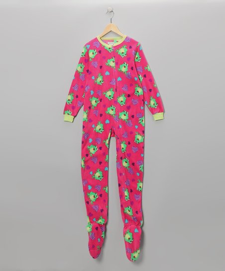 Fuchsia Frog Zebra Heart Footie - Girls