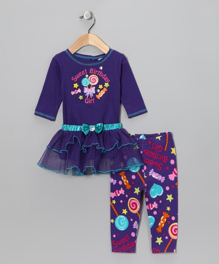Purple 'Birthday Girl' Tulle Tunic & Leggings - Infant
